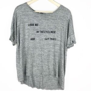 "Zara ""Look Me In The Eyeliner"" Gray Top"